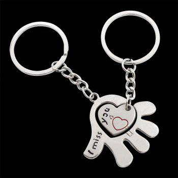 Creative Romantic Love in The Palm of The Couple Key Ring - SILVER