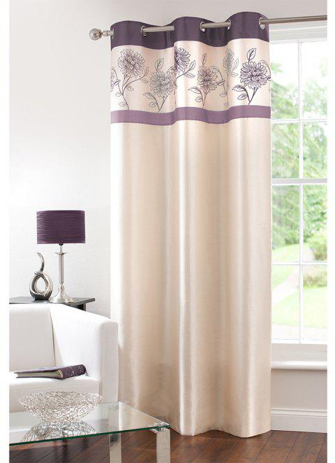 Gyrohome Faux Silk Grommets Top Fully Lined Readymade Flowers  Print Pattern Curtain 1 Panel - PURPLE W52 INCH * L95 INCH