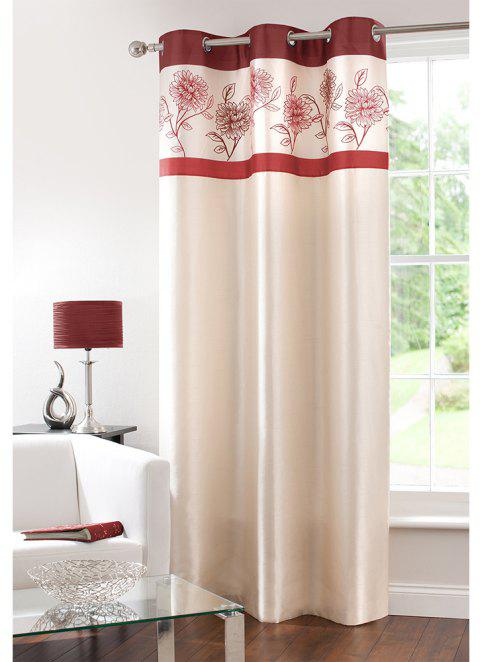 Gyrohome Faux Silk Grommets Top Fully Lined Readymade Flowers  Print Pattern Curtain 1 Panel - RED W52 INCH * L63 INCH
