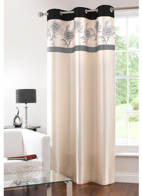 Gyrohome Faux Silk Grommets Top Fully Lined Readymade Flowers  Print Pattern Curtain 1 Panel - GRAY W52 INCH * L84 INCH