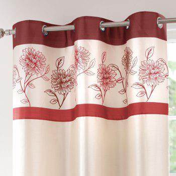 Gyrohome Faux Silk Grommets Top Fully Lined Readymade Flowers  Print Pattern Curtain 1 Panel - RED W52 INCH * L95 INCH