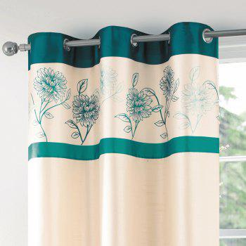 Gyrohome Faux Silk Grommets Top Fully Lined Readymade Flowers  Print Pattern Curtain 1 Panel - GREEN W52 INCH * L95 INCH