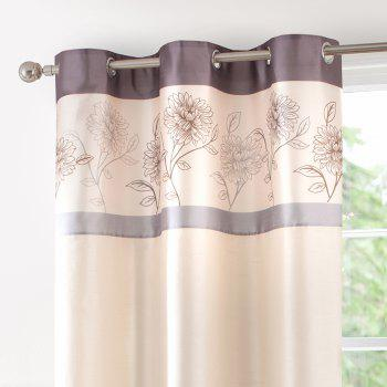 Gyrohome Faux Silk Grommets Top Fully Lined Readymade Flowers  Print Pattern Curtain 1 Panel - LIGHT PURPLE W52 INCH * L84 INCH