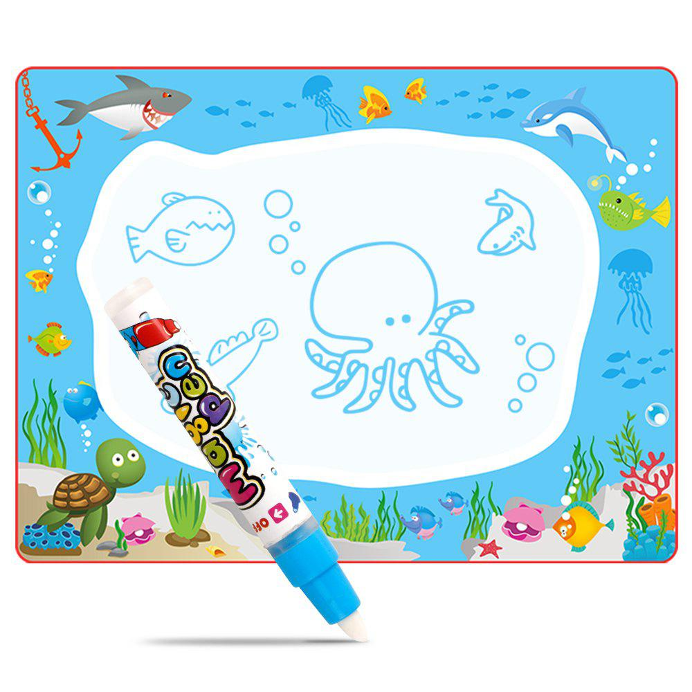 Children Early Education Big Magic Water Canvas Writing Graffiti Blanket Board of Ocean Animal Toys - BLUE