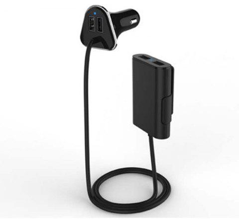 Mobile Phone Charger of 4 USB Interface with Cable Used in The Car - BLACK