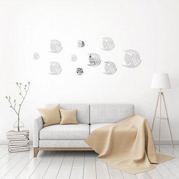 7 Tropical Fishes Mirror Wall Stickers Removable Diy Home Wallart Decoration - SILVER