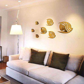 7 Tropical Fishes Mirror Wall Stickers Removable Diy Home Wallart Decoration - GOLDEN