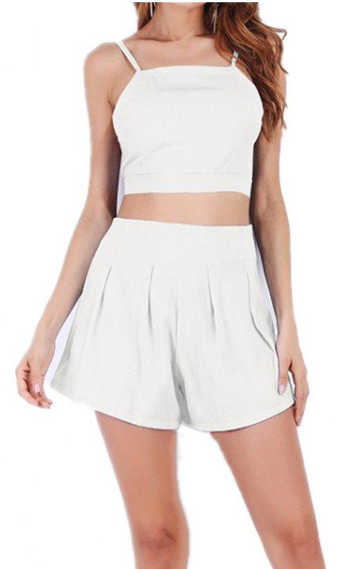 Halter Straps High Waisted Top and Shorts Suit - WHITE M