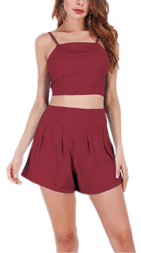 Halter Straps High Waisted Top and Shorts Suit - BURGUNDY M