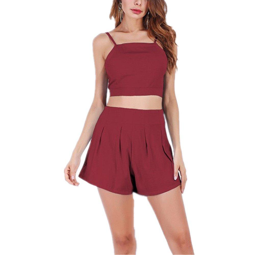 Halter Straps High Waisted Top and Shorts Suit - BURGUNDY XL