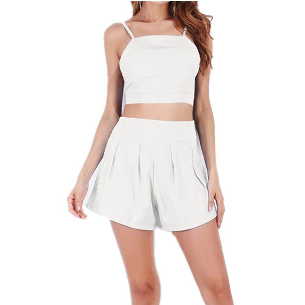 Halter Straps High Waisted Top and Shorts Suit - WHITE L