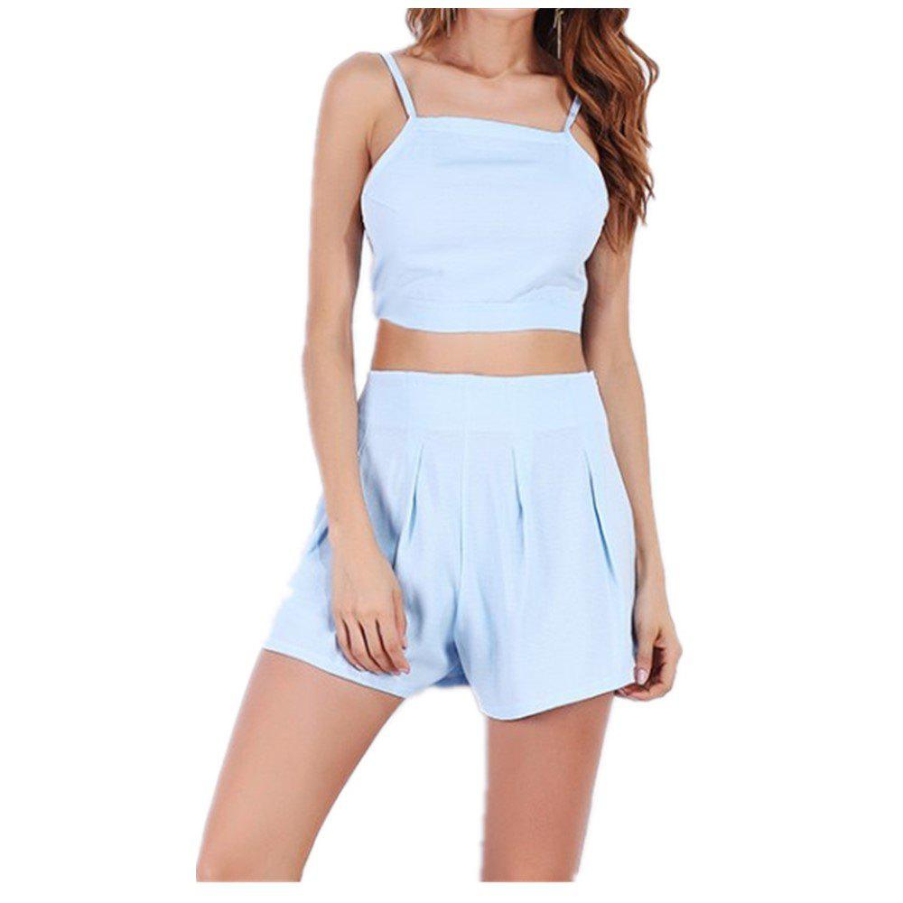 Halter Straps High Waisted Top and Shorts Suit - BLUE L