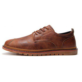 Casual Simple Style Breathable Formal Shoes For Men - BROWN 43