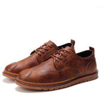 Casual Simple Style Breathable Formal Shoes For Men - BROWN 44