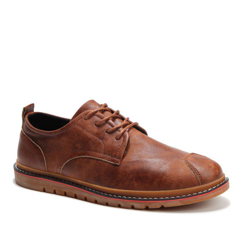 Casual Simple Style Breathable Formal Shoes For Men - BROWN 41