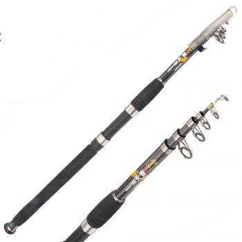 High Quality 2.1m 5 Section Carbon Freshwater Saltwater Telescopic Fishing Rod - BLACK