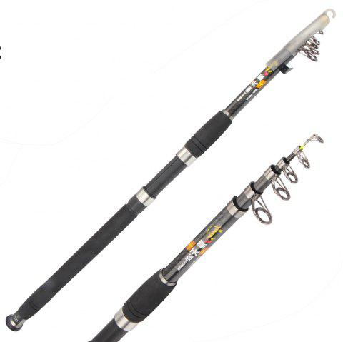 Portable Telescopic Spinning Fishing Rod pole for freshwater and saltwater - BLACK