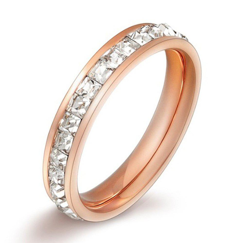 Single Row Full Little Diamond Tail Finger Rose Gold Jewelry Titanium Steel Ring - ROSE GOLD 9