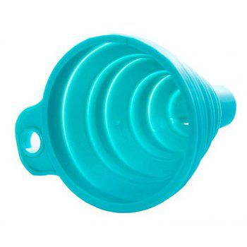 New Mini Silicone Gel Foldable Collapsible Style Funnel Hopper Kitchen Tool - BLUE 7.5CM X 7.5CM