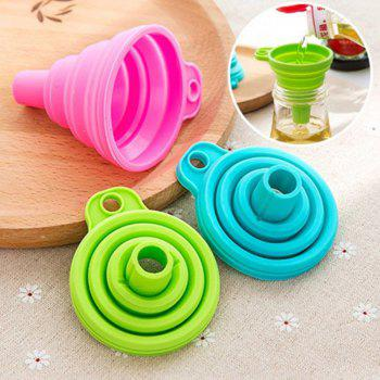 New Mini Silicone Gel Foldable Collapsible Style Funnel Hopper Kitchen Tool - GREEN 7.5CM X 7.5CM