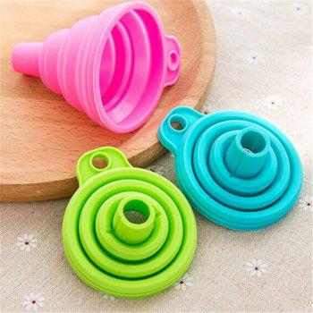 New Mini Silicone Gel Foldable Collapsible Style Funnel Hopper Kitchen Tool - PINK 7.5CM X 7.5CM