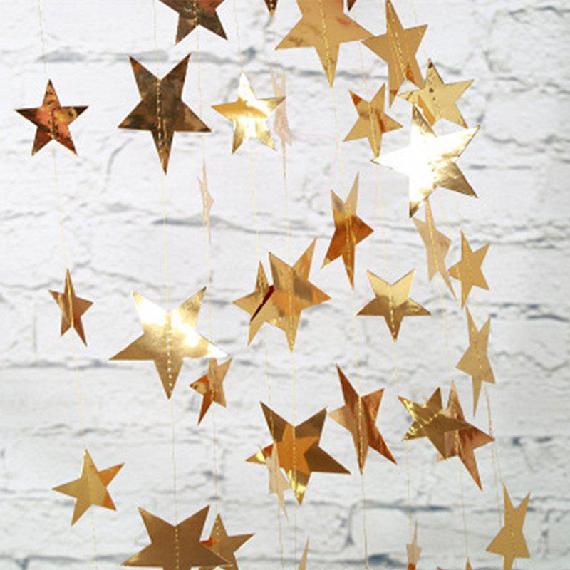 4 Meters of Creative Cardboard Stars Ornaments Decorate Wedding Party Holiday - GOLDEN 10CM