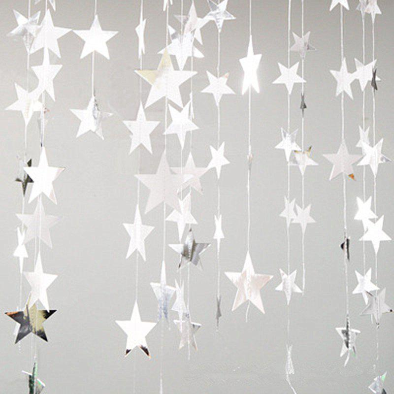 4 Meters of Creative Cardboard Stars Ornaments Decorate Wedding Party Holiday - SILVER 10CM