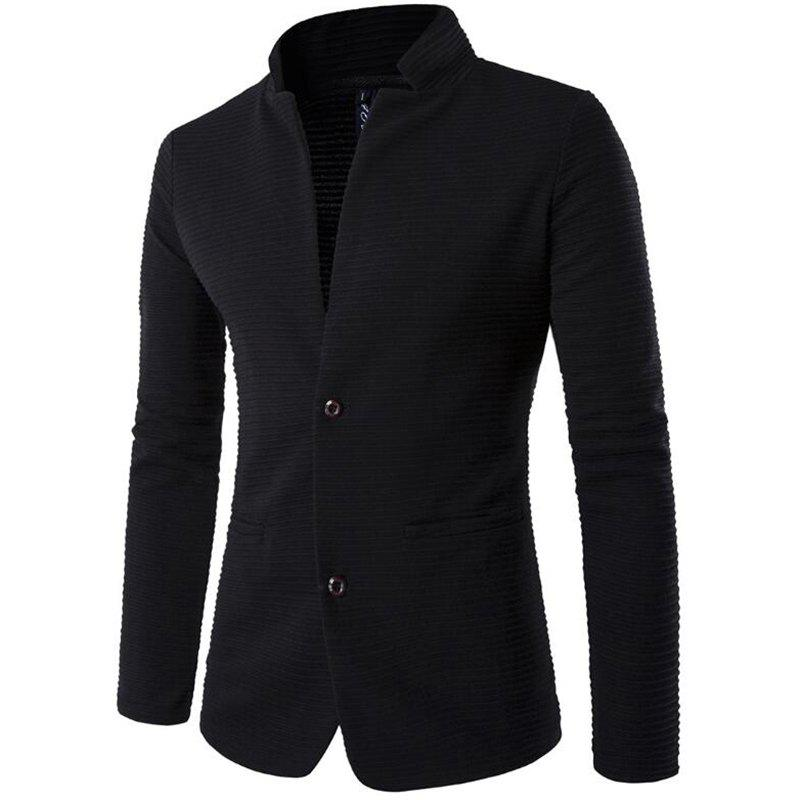 Men's Stand Collar Slim Fit Casual Blazer Jacket - BLACK XL