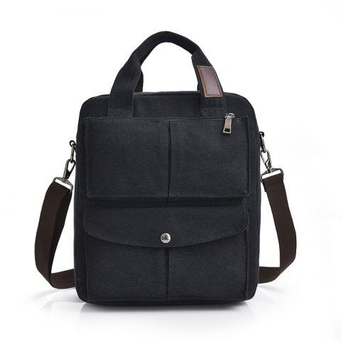 Casual Male Vertical Models Shoulder Messenger Bag Handbag - BLACK