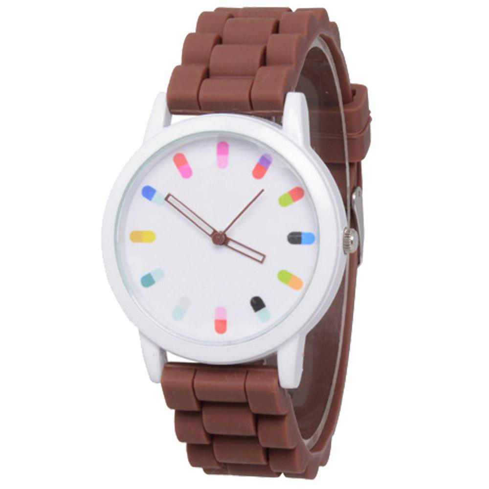 Cooho Classic Silicone Women Casual Watch - BROWN