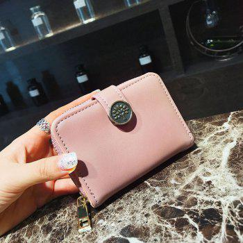 PU Leather Short Purse Fashion Trend Card Package - PINK