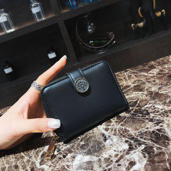 PU Leather Short Purse Fashion Trend Card Package - BLACK