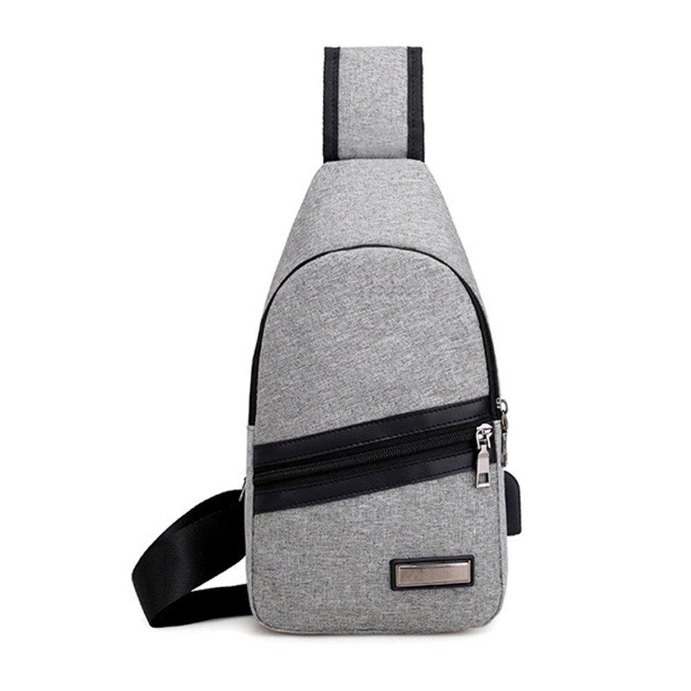 Business Casual Chest Pack for Men  Shoulder Bag with USB interface - GRAY VERTICAL