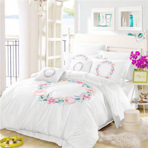 Embroidered Leaf Petals Color Painting Series Three Pieces of Bedding Wreath SK05 - WHITE DOUBLE