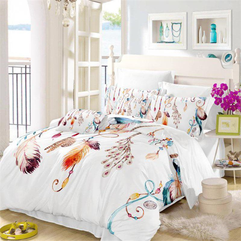 Feather Painting Series Embroidery Tribal Designs Three Piece Bedding Set Feather Necklace AS13 - COLORMIX EURO KING