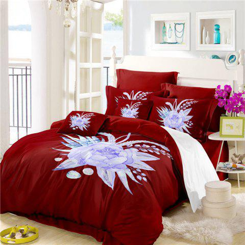 Embroidered Leaf Petals Color Painting Series Three Pieces of Bedding Set Saussurea Sk01 - DEEP RED DOUBLE