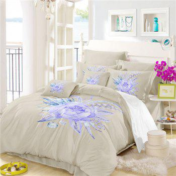 Embroidered Leaf Petals Color Painting Series Three Pieces of Bedding Saussurea Sk01 - BEIGE SINGLE