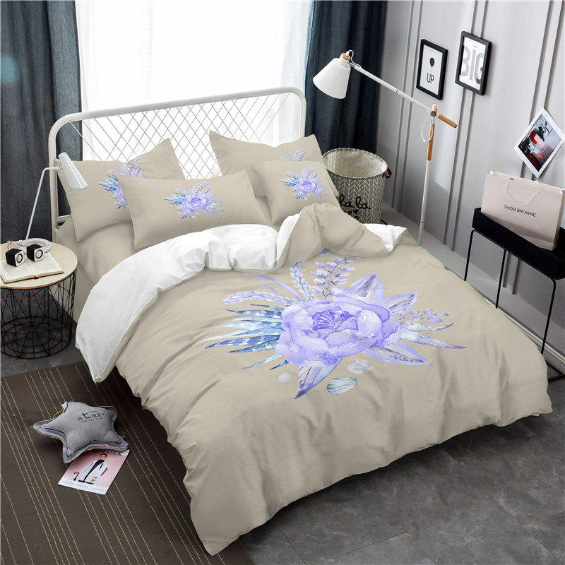 Embroidered Leaf Petals Color Painting Series Three Pieces of Bedding Saussurea Sk01 - BEIGE EURO KING