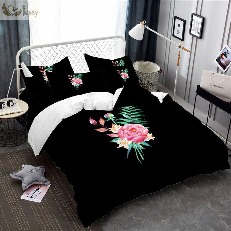 An Embroidered Leaf Petal Color Drawing Series Three Pieces of Bedding SK02 - BLACK EURO KING