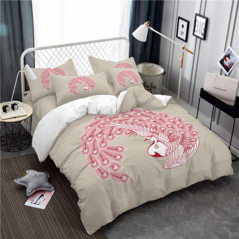 Embroidered Swan Feather Series Three Pieces of Bedding SK03 - BEIGE EURO KING