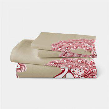 Embroidered Swan Feather Series Three Pieces of Bedding SK03 - BEIGE CALIFORNIA KING