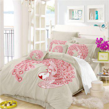 Embroidered Swan Feather Series Three Pieces of Bedding SK03 - BEIGE SINGLE