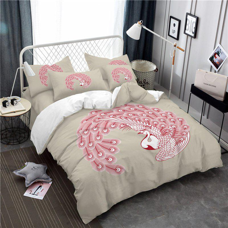 Embroidered Swan Feather Series Three Pieces of Bedding SK03 - BEIGE DOUBLE