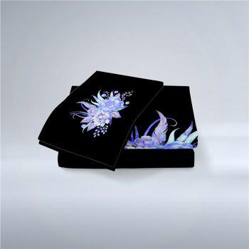 Embroidered Leaf Petals Color Painting Series Three Pieces of Bedding Set - BLACK SINGLE