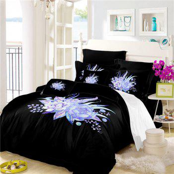Embroidered Leaf Petals Color Painting Series Three Pieces of Bedding Set - BLACK EURO KING