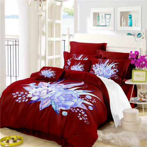 Embroidered Leaf Petals Color Painting Series Three Pieces of Beddin - DEEP RED DOUBLE