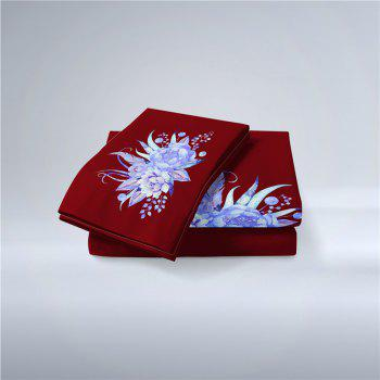 Embroidered Leaf Petals Color Painting Series Three Pieces of Beddin - DEEP RED CALIFORNIA KING