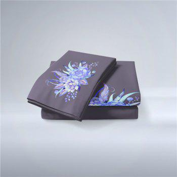 Embroidered Leaf Petals Color Painting Series Three Pieces of Beddin - GRAY SINGLE