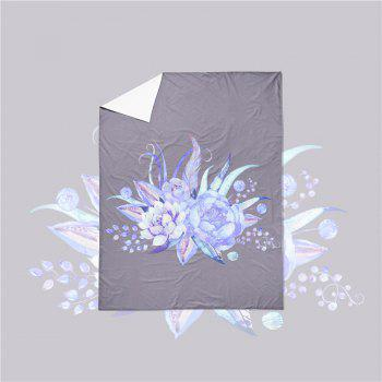 Embroidered Leaf Petals Color Painting Series Three Pieces of Beddin - GRAY EURO KING