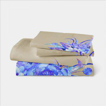 Embroidered Leaf Petals Color Painting Series Three Pieces of Beddin - BEIGE DOUBLE
